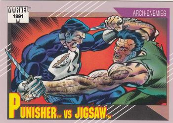1991 Impel Marvel Universe II #100 Punisher vs. Jigsaw Front