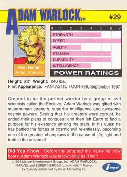 1991 Impel Marvel Universe II #29 Adam Warlock Back