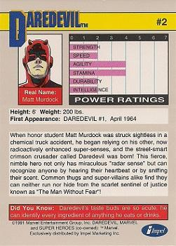 1991 Impel Marvel Universe II #2 Daredevil Back