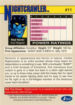 1991 Impel Marvel Universe II #11 Nightcrawler Back