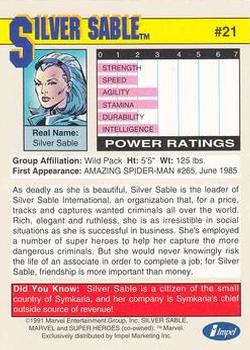 1991 Impel Marvel Universe II #21 Silver Sable Back