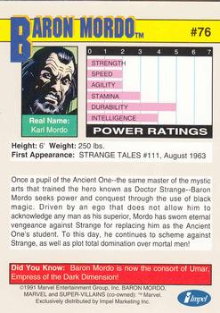 1991 Impel Marvel Universe II #76 Baron Mordo Back
