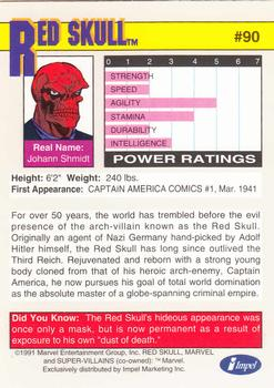 1991 Impel Marvel Universe II #90 Red Skull Back