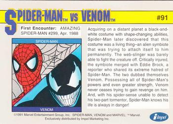 1991 Impel Marvel Universe #91 Spider-Man vs. Venom Back