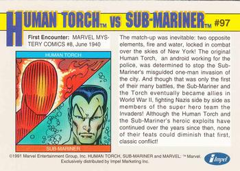 1991 Impel Marvel Universe #97 Human Torch vs. Sub-Mariner Back