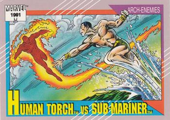 1991 Impel Marvel Universe II #97 Human Torch vs. Sub-Mariner Front