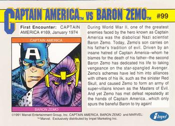 1991 Impel Marvel Universe II #99 Captain America / Baron Zemo Back