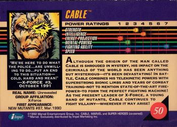 1992 Impel Marvel Universe #50 Cable Back