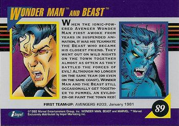 1992 Impel Marvel Universe #89 Wonder Man and Beast Back