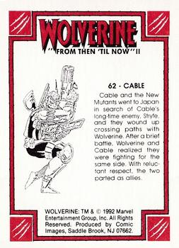 1992 Comic Images Wolverine From Then 'Til Now II #62 Cable Back