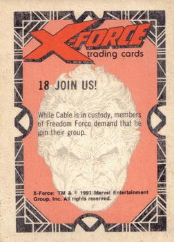 1991 Comic Images X-Force #18 Join Us! (Cable) Back