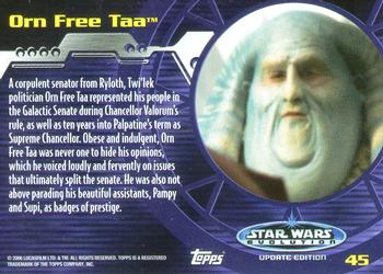 2006 Topps Star Wars Evolution Update 45 Orn Free Taa Back