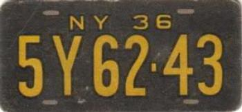 1936 Goudey Auto License Plates #NNO New York Front