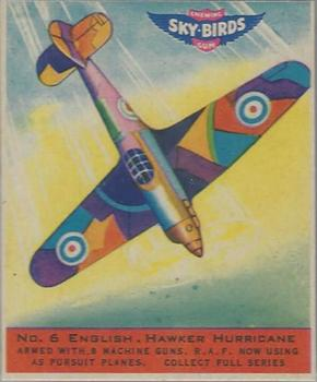 1941 Goudey Sky Birds (R137) #6 English. Hawker Hurricane Front