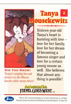 1991 Impel An American Tail Fievel Goes West #2 Tanya Mousekewitz Back