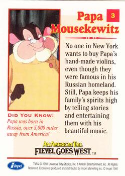 1991 Impel An American Tail Fievel Goes West #3 Papa Mousekewitz Back