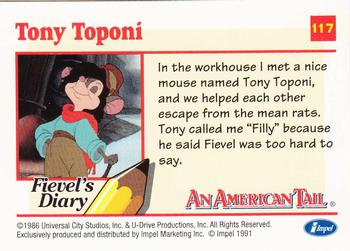1991 Impel An American Tail Fievel Goes West #117 Tony Toponi Back