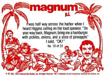 1983 Donruss Magnum PI #13 I was half way across the harbor when I heard Hi Back