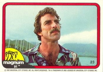 1983 Donruss Magnum PI #23 (looking up, blue-and-green shirt) Front