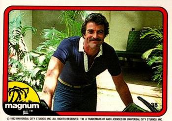 1983 Donruss Magnum P.I. #38 (leaning on car, in front of porch) Front