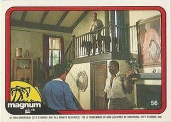 1983 Donruss Magnum PI #56 (confrontation in den, Higgins and dogs on stairs) Front