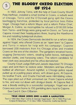1992 Eclipse True Crime #5 The Bloody Cicero Election of 1924 Back