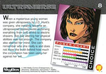 1993 SkyBox Ultraverse #8 Choice Back