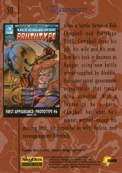 1994 Fleer Ultraverse Master #50 Ranger Back