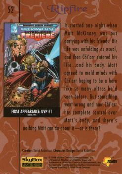 1994 Fleer Ultraverse Master #52 Ripfire Back