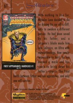 1994 Fleer Ultraverse Master #61 Solitaire Back