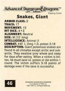 1991 TSR Advanced Dungeons & Dragons - Silver #46 Snakes, Giant Back