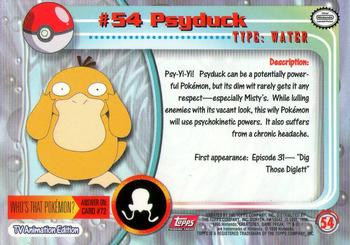 1999 TOPPS SERIES 1 POKEMON TV ANIMATION EDITION CARD # 54 PSYDUCK