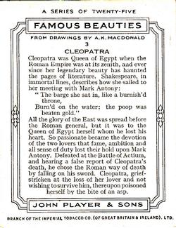 1937 John Player & Sons Famous Beauties #3 Cleopatra Back