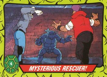 1990 Topps Ireland Ltd Teenage Mutant Hero Turtles #4 Mysterious Rescuer! Front