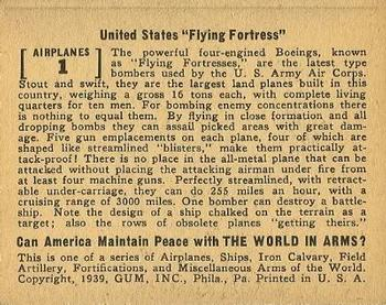 1939 Gum Inc. World In Arms (R173) #Airplanes 1 United States