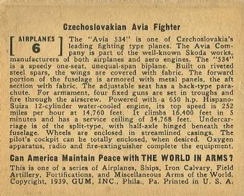 1939 Gum Inc. World In Arms (R173) #Airplanes 6 Czechoslovakian Avia Fighter Back