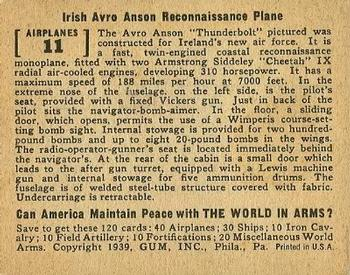 1939 Gum Inc. World In Arms (R173) #Airplanes 11 Irish Avro Anson Reconnaissance Plane Back