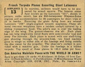 1939 Gum Inc. World In Arms (R173) #Airplanes 13 French Torpedo Planes Escorting Giant Letecoere Back