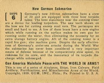 1939 Gum Inc. World In Arms (R173) #Ships 6 New German Submarine Back