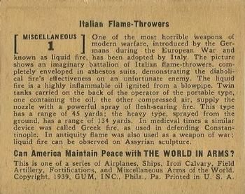 1939 Gum Inc. World In Arms (R173) #Miscellaneous 1 Italian Flame Throwers Back