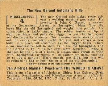 1939 Gum Inc. World In Arms (R173) #Miscellaneous 4 The New Garand Automatic Rifle Back