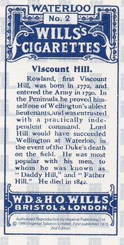 1990 Imperial Publishing Ltd Waterloo #2 Viscount Hill Back