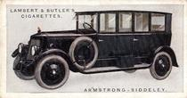 1922 Lambert & Butler's Motor Cars #19 Armstrong-Siddeley Front