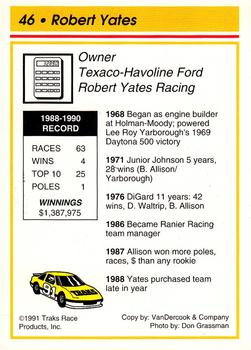 1991 Traks - Factory Set (Glossy) #46 Robert Yates Back