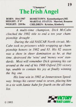 1993 Victory #19 Dick McCabe Back