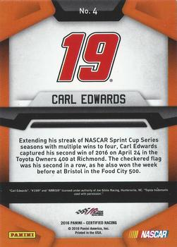 2016 Panini Certified #4 Carl Edwards Back
