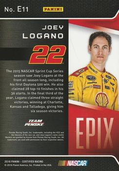 2016 Panini Certified - Epix Mirror Red #E11 Joey Logano Back