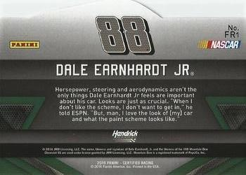 2016 Panini Certified - Famed Rides Mirror Gold #FR1 Dale Earnhardt Jr. Back
