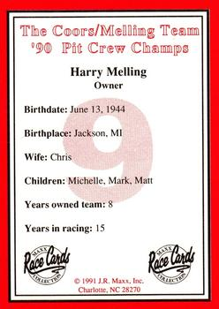 1991 Maxx The Coors/Melling Team Set #NNO Harry Melling Back