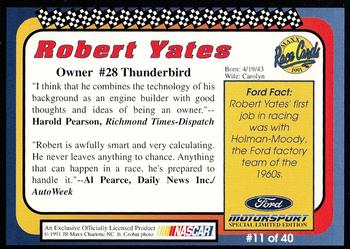 1991 Maxx Ford Motorsport #11 Robert Yates Back